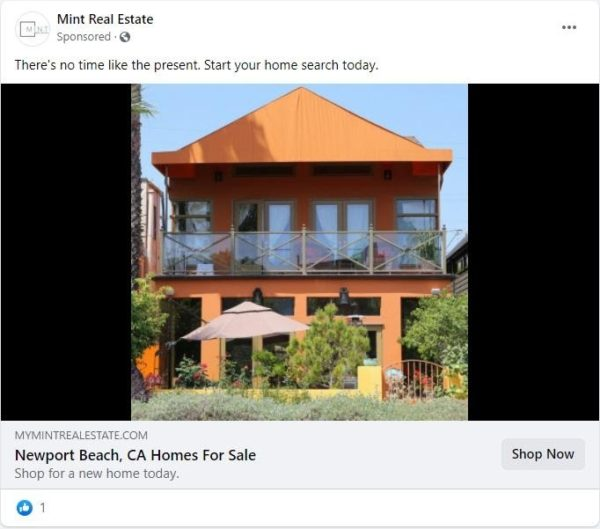 "real estate Facebook ad examples - A Facebook ad with a clear and simple call to action to ""shop for a new home today"""