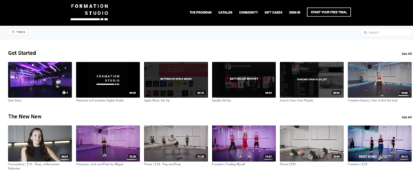 Formation Studio provides weekly streams of routines along with on-demand classes