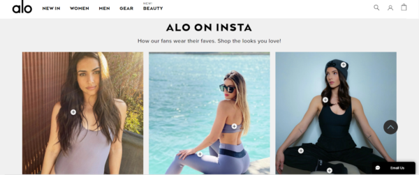 Alo incorporates user-generated content  as social proof