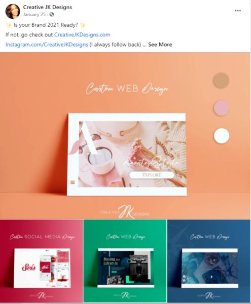 Organic Facebook post turn web design ad