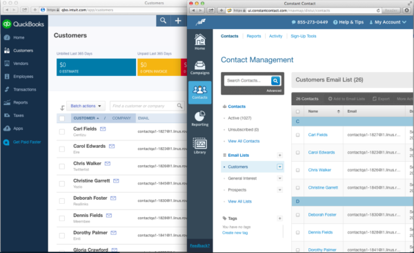 screenshot of Quickbooks integration with Constant Contact