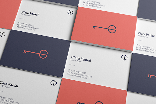 real estate business cards - examples using bold colors
