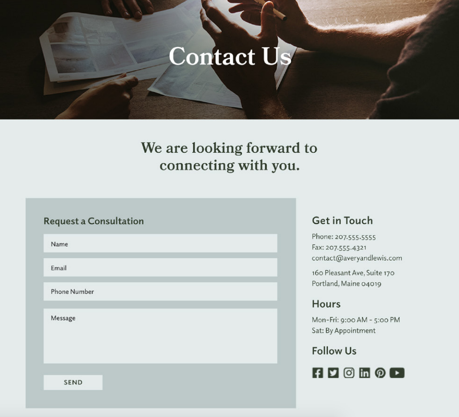 Professional services website contact form