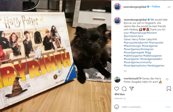 Sometimes, board game marketing works best with user-generated content, like this one that a customer sent in of her dog next to the game box
