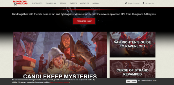 The landing page for a board game, like this D&D page, should excite visitors and entice them to try the game