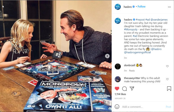 User generated content - Hasbro reposts a customer's post about one of the versions of Monopoly
