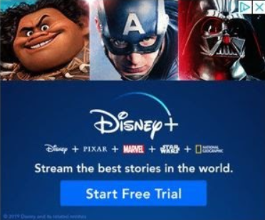 Disney banner ad featuring several of their holdings -- Disney + Pixar + Marvel + Star Wars + National Geographic