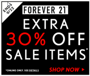 Forever 21 ad -- black and white with pops of red