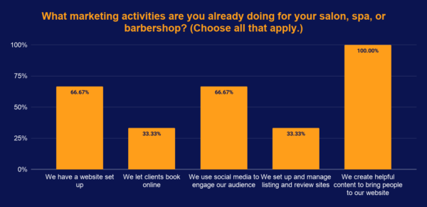 Salon and spa marketing activities poll