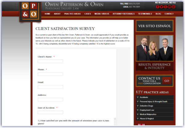 law firm survey for client satisfaction on website