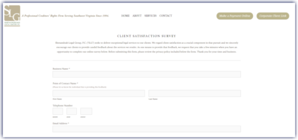 law firm survey on website