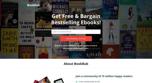 Homepage of BookBub a website for readers -- perfect for ebook promotion