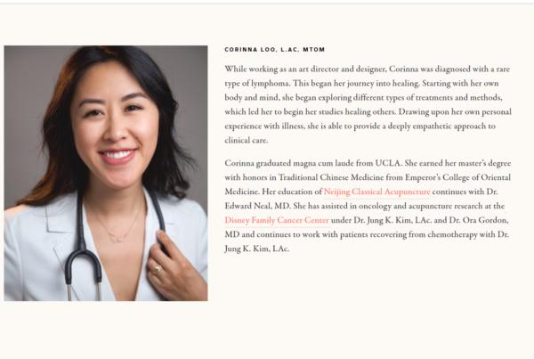 Acupuncture Marketing with a website bio -- Corinna Loo of Tiny Medicine