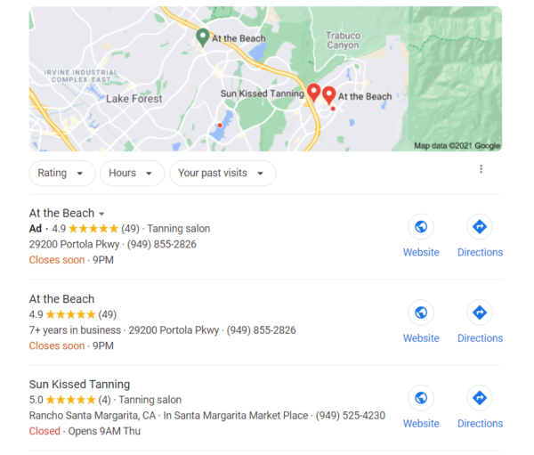 """Google Search showing """"local 3"""" - top listing is an ad for ATB, second listing is ATB and third listing is a competitor, Sun Kissed Tanning"""