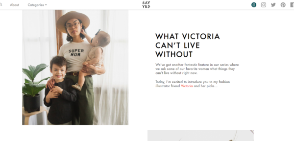 A guest blog by Victoria on Say Yes is prefaced with introducing Victoria to Say Yes readers