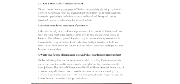 screen shot of guest blogging formatted as a Q&A session/interview