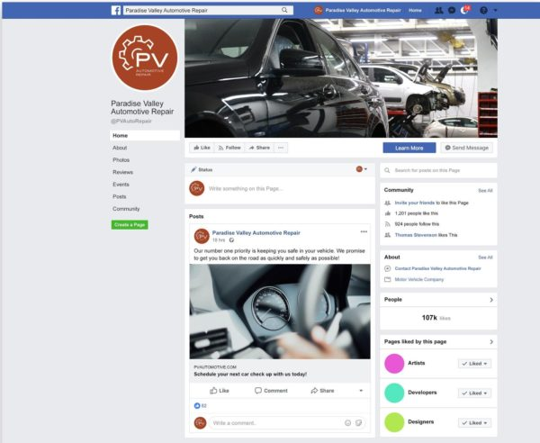 example of auto content marketing on a Facebook business page -- informative posts that lead back to a website