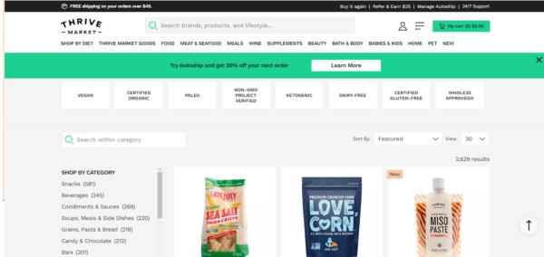 Screenshot of Thrive Market's online store