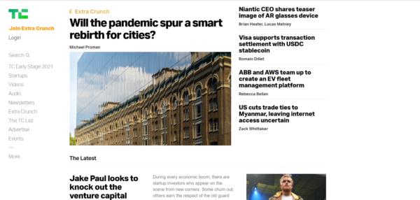 screenshot of TechCrunch website