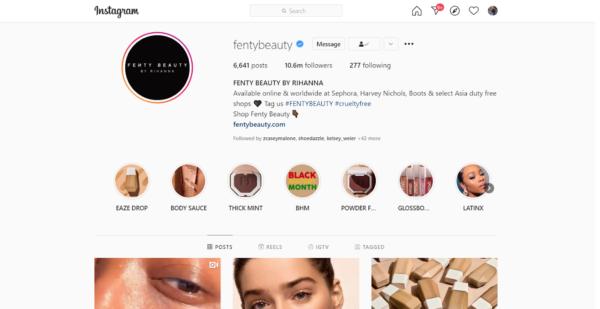 Fenty Beauty's Instagram page