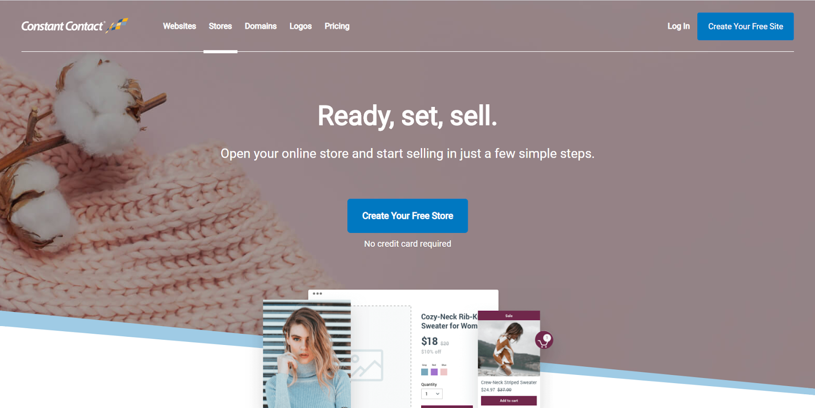 Constant Contact's website builder online store starting page