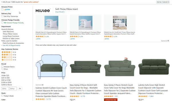 """how to optimize amazon listing - """"green sofa cushion"""" query results showing sofa covers, cushion covers, and even pillows"""