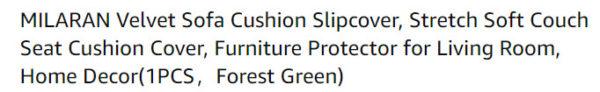 optimizing an Amazon listing - example product title for a Velvet sofa cushion