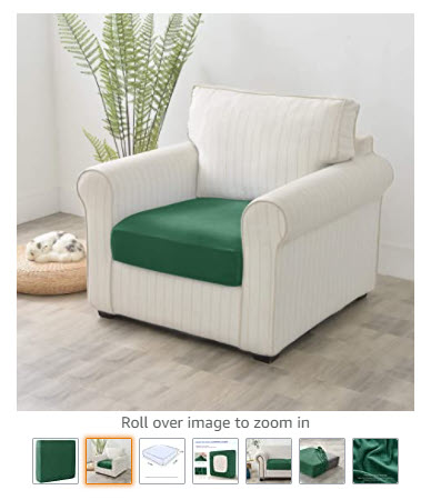 how to optimize Amazon listing - images of a green sofa cushion cover showing main image and several additional, informative images