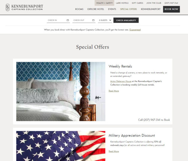 bed and breakfast marketing sometimes means offering specials and discounts like these offers for weekly rates and military discounts