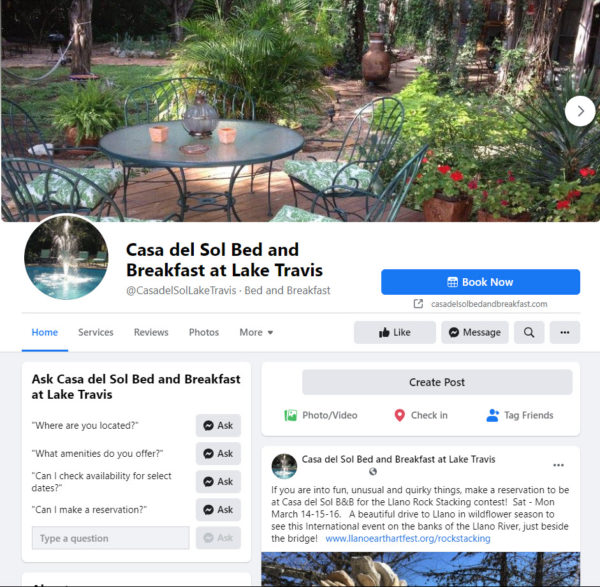 Every bed and breakfast should be marketing on Facebook just like Casa del Sol Bed and Breakfast at Lake Travis
