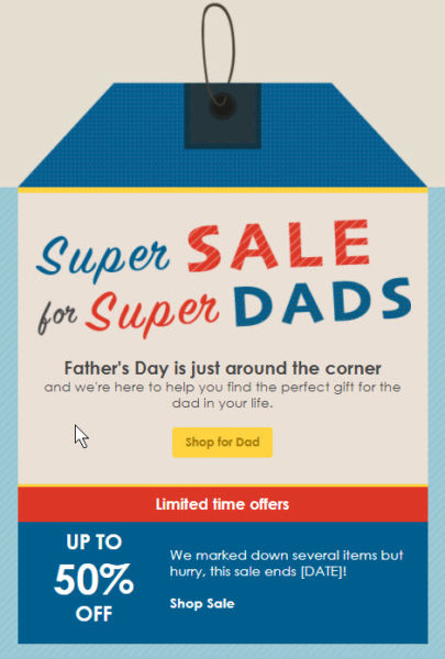 Father's Day email card example