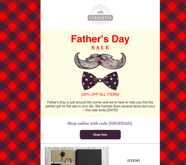 Father's Day email example