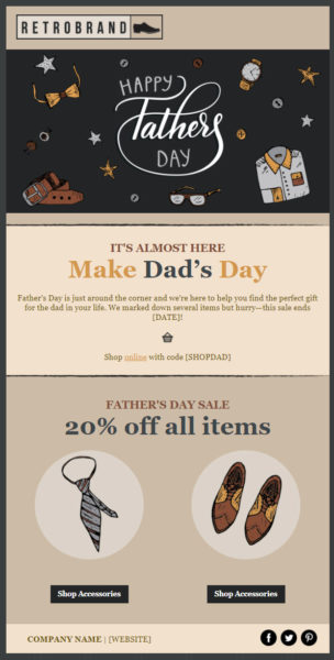 Father's Day sale email example