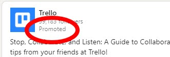 """LinkedIn ads are marked with """"promoted"""""""