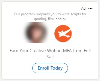 Example of a LInkedIn Ad that includes a viewers profile image next to the advertisers profile image