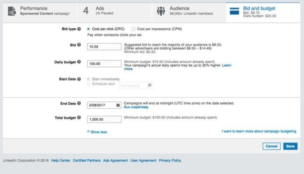 Screenshot of LInkedIn Ads bidding/budget setup