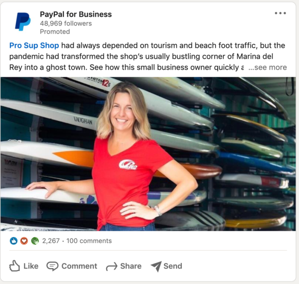 PayPal LinkedIn Ad highlighting a business they've helped/worked with