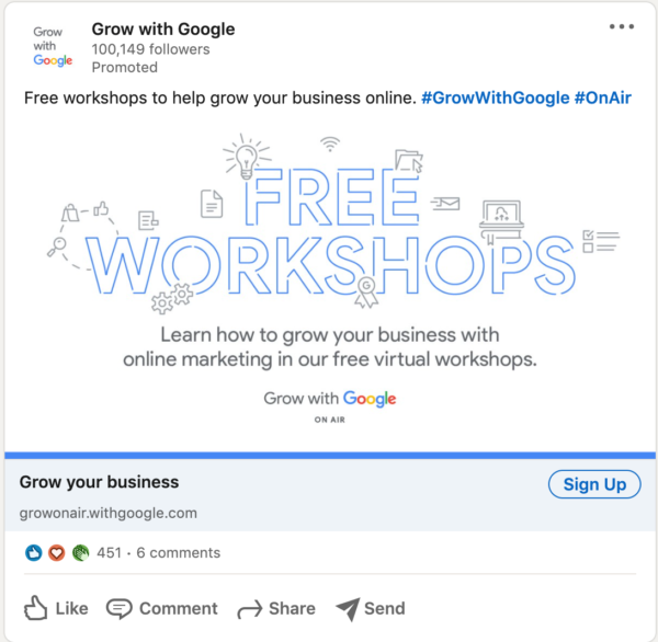 Grow with Google LinkedIn Ad that doesn't follow standard practices by sporting mostly words and graphics with very little color