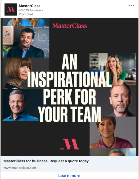 MasterClass LinkedIn Ad where the photos are of instructors looking directly at the camera