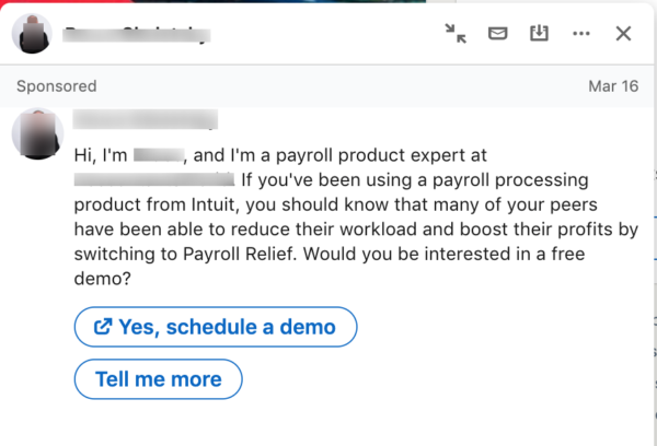 Screenshot of a LinkedIn Ad that's not personalized