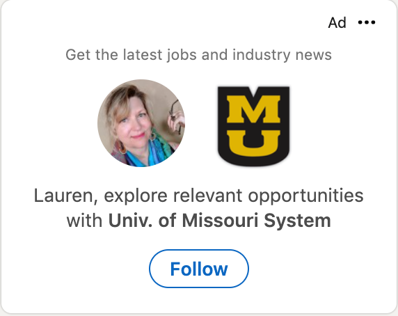 Screenshot of a LinkedIn Ad that has the readers profile image next to the advertisers profile image and the copy starts with the readers first name