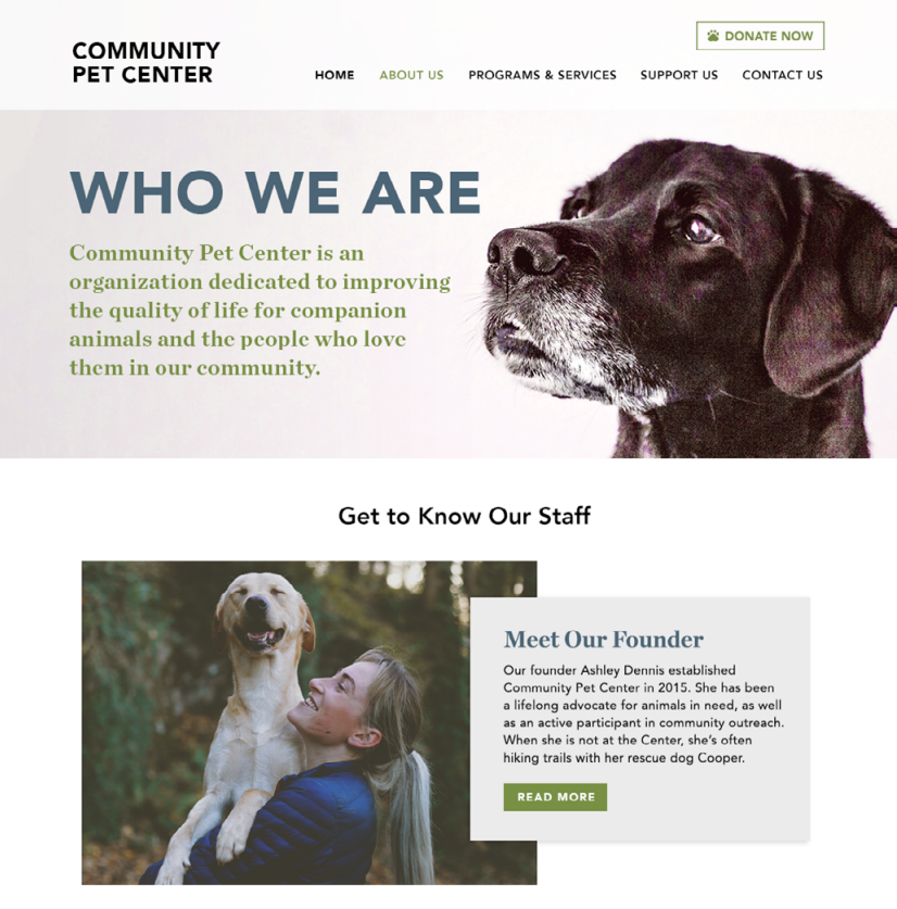 Nonprofit website about page example