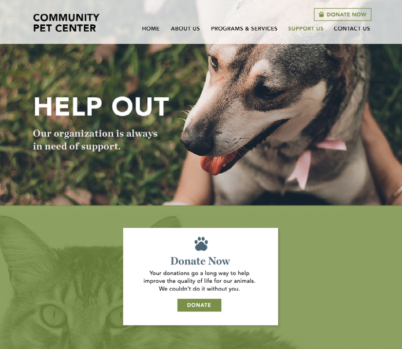 Nonprofit website support page example