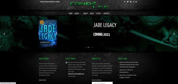 how to market your book -- Fonda Lee built her author's website to match her sci-fi/fantasy stories