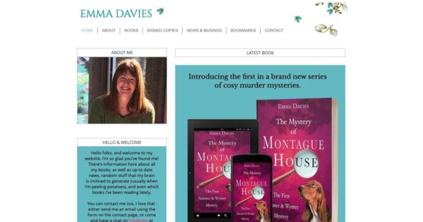 how to market your book - Emma Davies built her author website to  match her cozy mystery novels