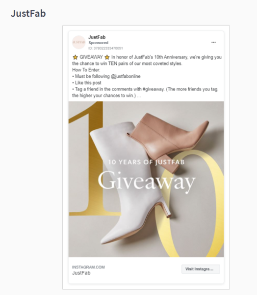 Instagram promotion of boots