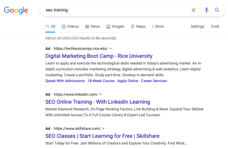"""Google ads vs Facebook ads - Google search results for """"SEO training"""""""