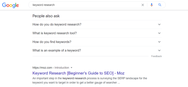 """User intent SERP for """"keyword research"""" -- people also ask (PAA) box"""