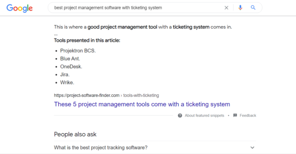 """User intent SERP for specific audience choice phrase """"best project management software with ticketing system"""""""