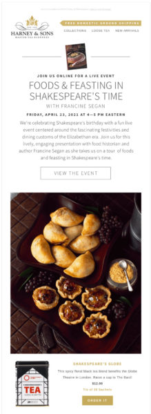Harney & Sons Shakespeare's Time food event announcement with CTA to view event information